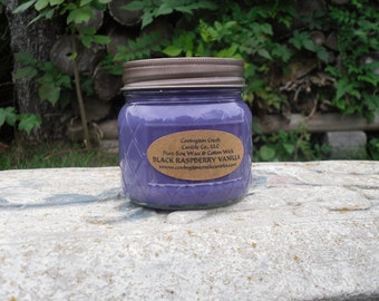 Black Raspberry Vanilla Pure Soy Candle. Multiple Sizes available