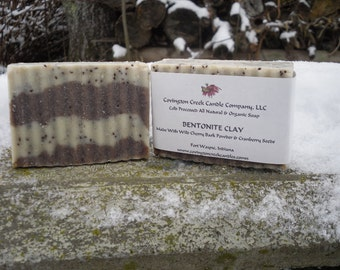 BENTONITE CLAY Unscented Shaving Soap with Wild Cherry Bark Powder and Cranberry Seeds