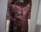 Sale STUNNING Vintage 1950s 1960s Deep Brown LIQUID SATIN Asian Brocade Sleeveless Cocktail Dress and Cropped Jacket set