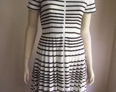 Reserved David Crystal Iconic Alligator SCOOTER DRESS in White with Rich BROWN stripe Pique