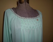Vintage MINT GREEN long smocked nightgown, Sears brand, size medium