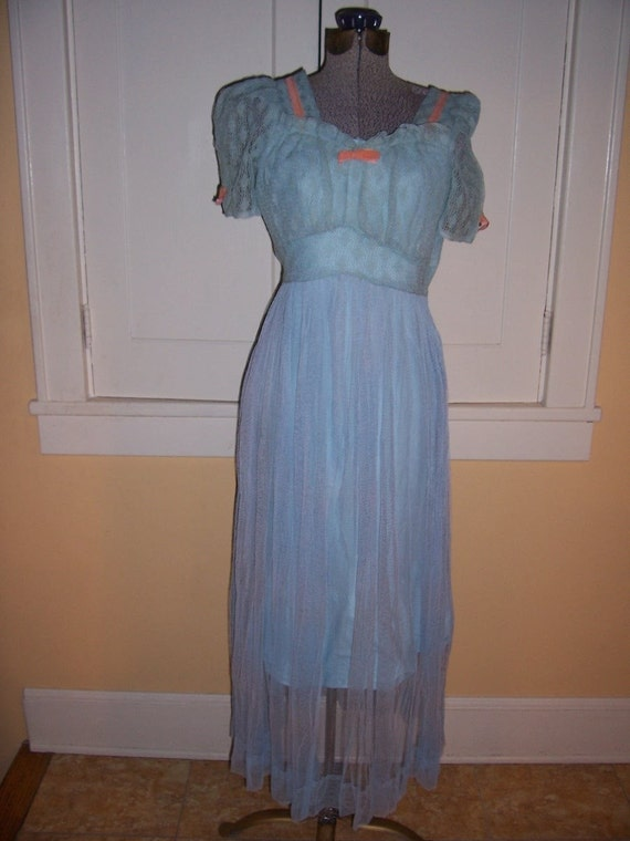 Sale Vintage 1930s Sky Blue netted lace puff sleeve gown VELVET TRIM and bias cut slip