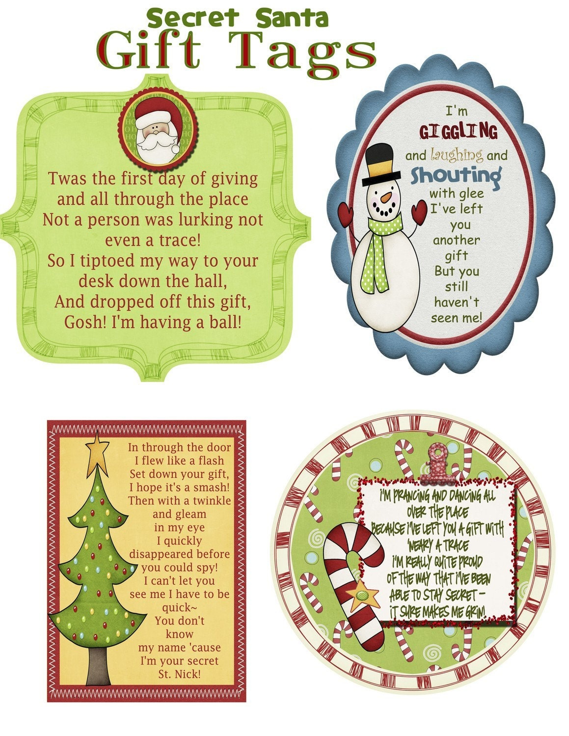 Secret Santa Gift Tag Poem PDF File by kate42876 on Etsy