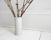 Vintage Cherry Blossom Bone White Ceramic Vase - 60s, Japan