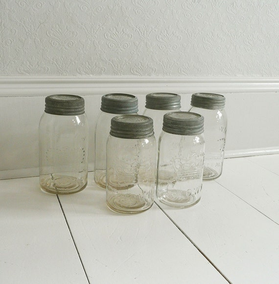 Set of 6 Antique Crown Clear Glass Canning Jars with Zinc Lids