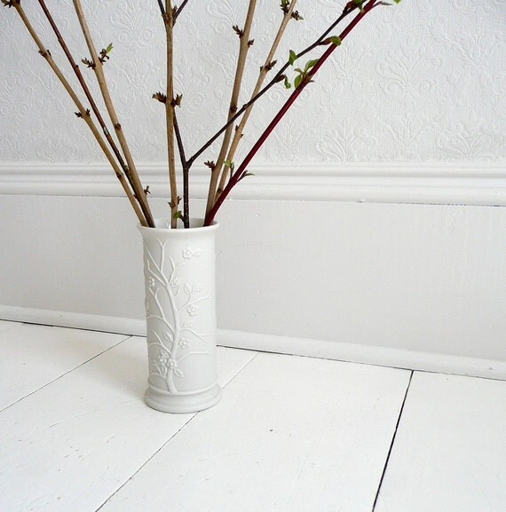 Vintage Cherry Blossom Bone White Ceramic Vase - 60s, Japan