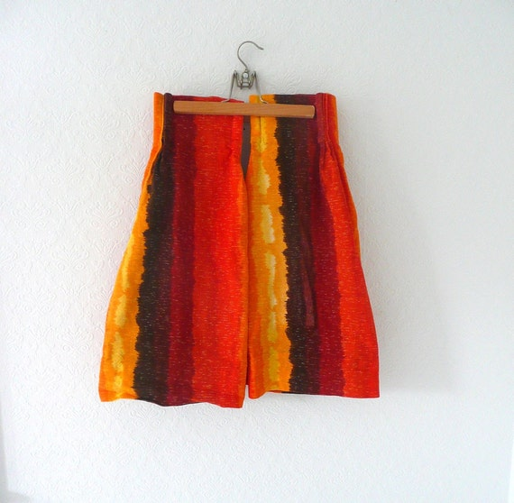Mid Century Orange Yellow and Brown Striped Cafe Curtains