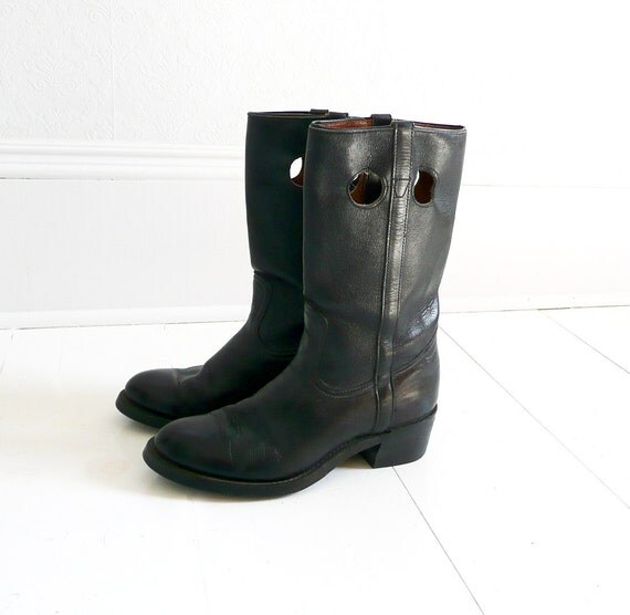 Vintage Black Leather Riding Boots - Women's, Size 8, Classic