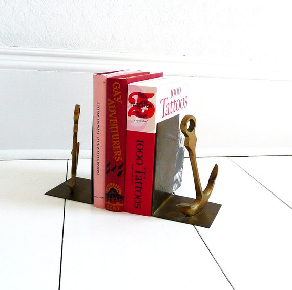 Vintage Brass Anchor Bookends - 70s, Library, Nautical