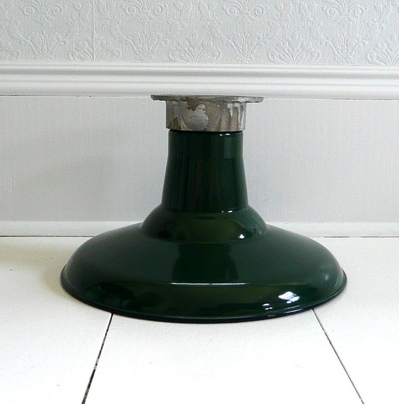 RESERVED Vintage Green Barn Ceiling Light - Industrial, Enamel, Fixture - 1 of 2