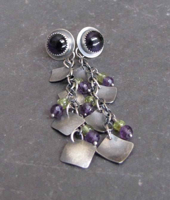 Sterling Silver Amethyst Peridot Crocus Earrings