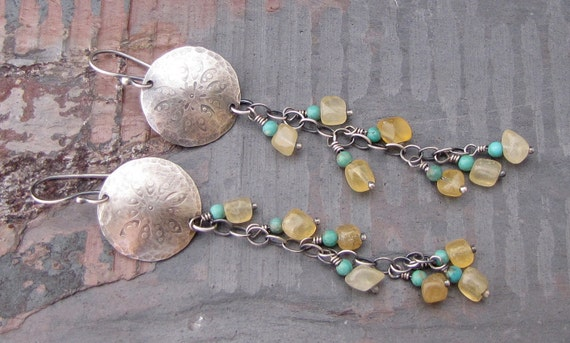 Handstamped Sterling Silver Earrings with Calcite and Turquoise Wildflowers