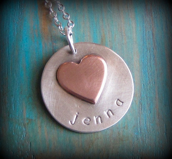 Custom stamped name pendant necklace by Amy Nicole Artisan Jewelry