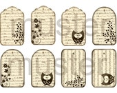 8 Vintage tags to print, for scrapbooking, cards, gifts, presents, pdf-files  Instant download