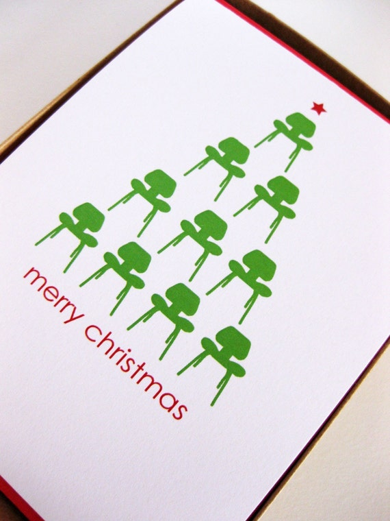 Mid Century Modern Christmas Card Set Of 8 By Dodelinedesign