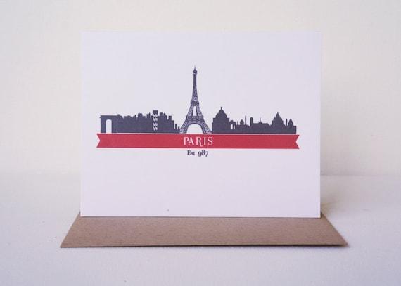 Paris Card, Paris Stationery, Paris Cityscape Skyline, Francophile, Parisian Gift
