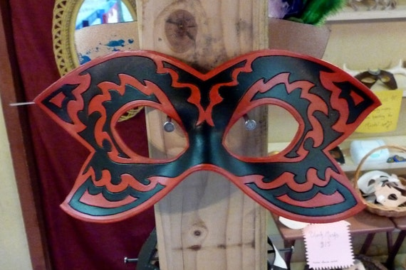 CLEARANCE SALE:  Red Tribal- Handmade Leather Mask