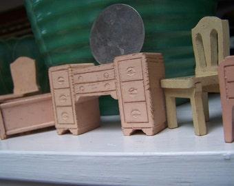 Dollhouse Furniture Antique Pink bedroom set 5 piece lot miniature VINTAGE by Plantdreaming