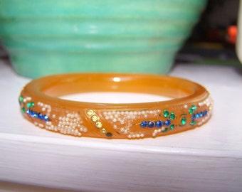 Celluloid rhinestone Bracelet Sparkle flapper Deco VINTAGE by Plantdreaming