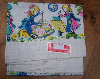 Tea Towel Unused Mint with Tag Kitchen Sewing Girl MWT VINTAGE by Plantdreaming