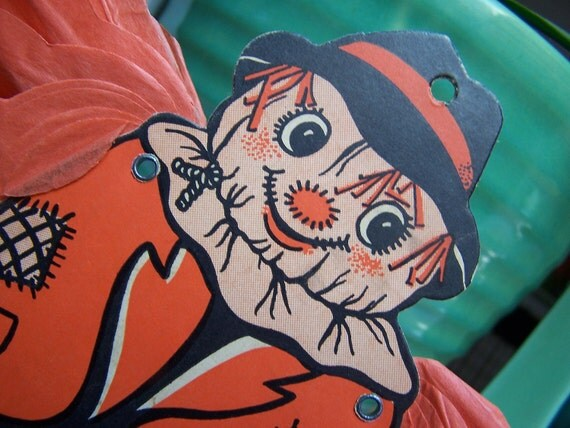 Halloween Scarecrow Jointed crepe and paper wall decoration 1950