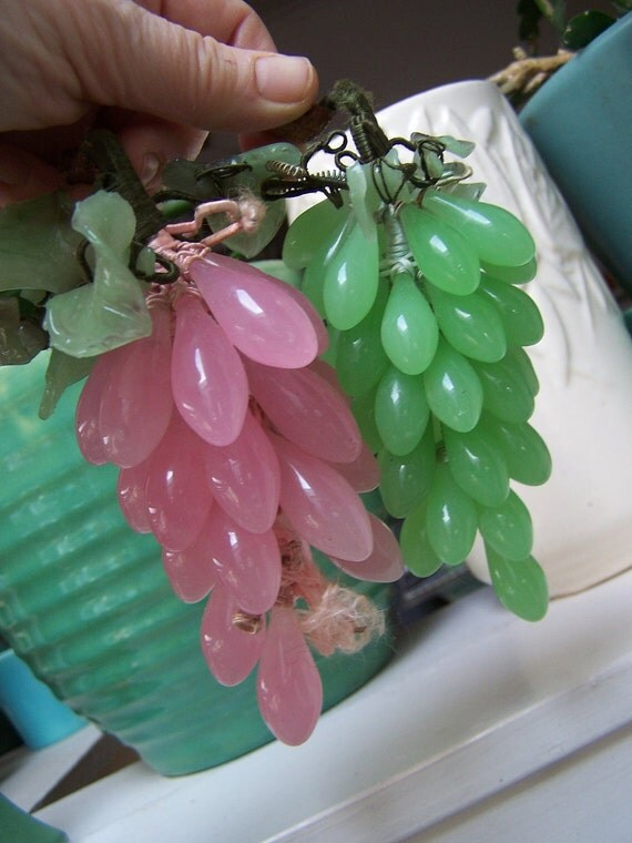 2 Vintage Glass Grape Clusters Italy Reuse