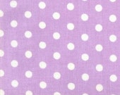 1 yard---BIG Polka Dots--Lavender with White Dots----SALE SALE Sale
