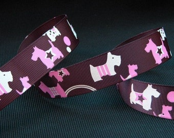 "7/8"" Inch wide Grosgrain Ribbon---3 yards---Scotti Dogs---Brown Pink White"