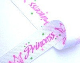 3/8 inch wide Grosgrain Ribbon---------3 YARDS--------PRINCESS------Pink and White