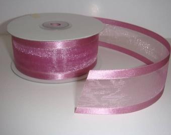 1.5 inch ORGANZA SATIN TRIM Ribbon-------3 Yards-----Hot Pink------Hair bow Making Supplies