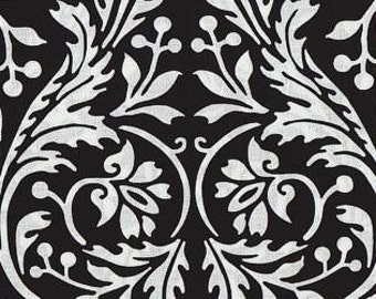 1 yard--Blank Quilting--Ascot Collection--Black & White--Scroll Damask