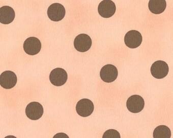1 yard--Moda Fabric-Polka Dots--Pink with Brown Dots----SALE SALE SALE