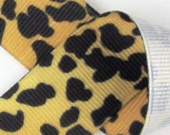 1.5 inch Grosgrain Ribbon---5 YARDS---CHEETAH---Hair bow Making Supplies