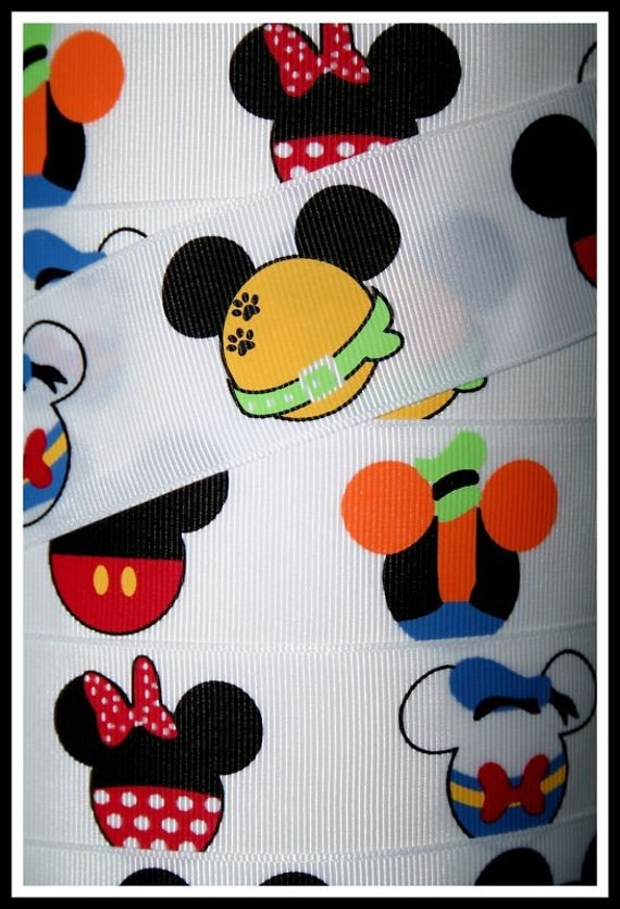 1.5 inch wide Grosgrain Ribbon----1.5 YARDS----Mickey and Friends-------Last bit of this ribbon