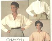 Vogue 1455 Pattern Calvin Klein Blouses 1980s sz 10