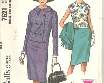 Vintage McCalls 7126 Pattern Skirt Blouse Jacket size 12 year 1966 FF