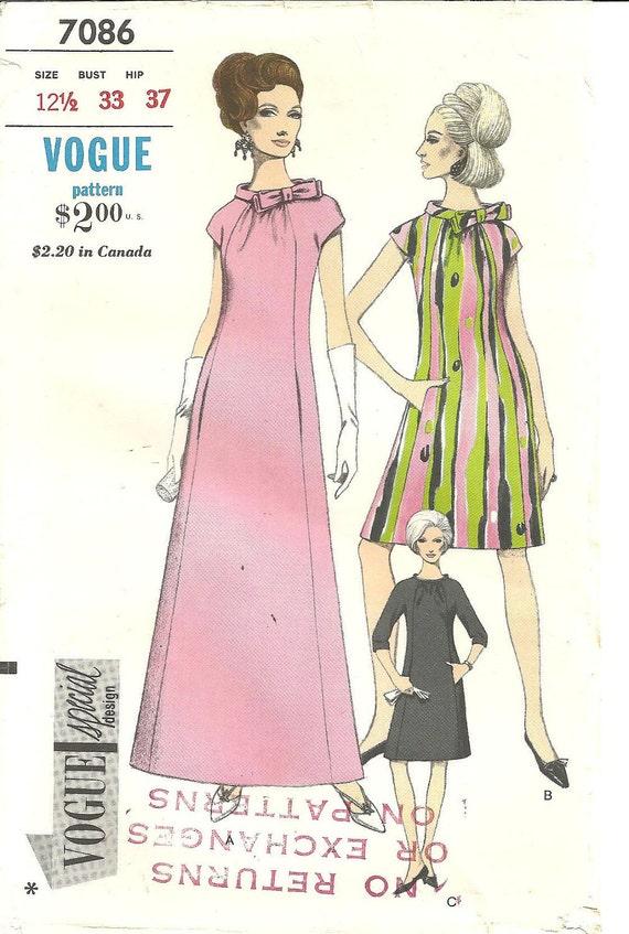 Reserve for Sharon Vintage Vogue 7086 Special Design Dress Sheath Gown sz 12 1/2