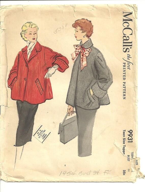 SALE McCalls 9931 Jacket Pattern Vintage Bust 34 1954 FF