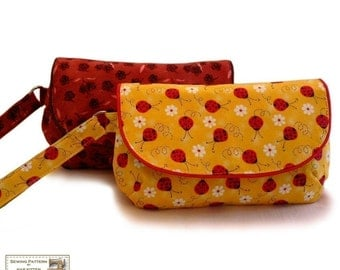 Zippered clutch sewing pattern, bag pattern, wristlet sewing pattern -- PDF Files