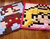 Lil Geek Twins Mario & Princess Peach Crib Quilts