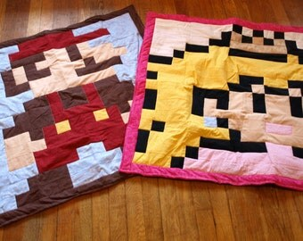 Lil Geek Twins Mario & Princess Peach Crib Quilts
