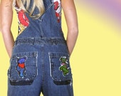 Chelsie Belles Upcycled Recycled Designer Jeans. Grateful dead dancing bears overalls.  Sm-medium