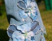 SALE Pretty Petals.  Flowers Denim beaded.  Any size. Skinny or flare.  Chelsie Belles womens designer blue jeans.