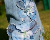 SALE Pretty Petals.  Flowers Denim beaded.  Any size. Skinny or flare.  Chelsie Belles womens designer blue jeans.
