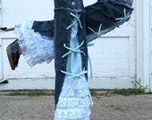Chelsie Belles designer    Girl that has it all blue jeans.  recycled  lace ruffle grommet embellished jeans any size