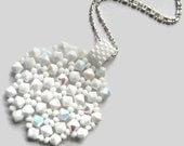 Swarovski Crystal Pendant, Beaded, White, Snowflake, Seed Bead, Lace, Peyote Stitch, Pearl, Winter, Wonderland, Intricate, Snow, Symmetrical