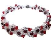 Swarovski Crystal Bracelet, Seed Bead, Heart, Tiny, Silver, Red, Vine, Crimson, Love, Christmas, Xmas, Holiday, Siam, Light Siam, Fire