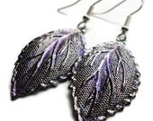 "Metal Earrings, Leaf, Dipped, Sparkle, Glitter, 2"", Fall, Autumn, Purple, Lavender, Silver, Pewter, Painted, Glaze, Soft, Leaves, Royalty"