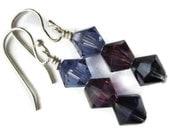 Swarovski Crystal Earrings, Sterling Silver, Wire Wrapped, 6mm, Purple, Tanzanite, Dark Indigo, Amethyst, Drop, Sparkle, Royalty, Passion