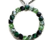 "Swarovski Crystal Pendant, Circle, 1"", Luck of the Irish, Wire Wrapped, Emerald, Jet, Black, Peridot, Green, Round, St Patricks Day, March"